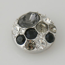 20MM Round snap Antique Silver Plated with black rhinestone KB5037 snaps jewelry