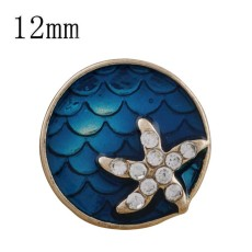 12MM blue starfish snap gold plated with  rhinestone KS6307-S snaps jewelry