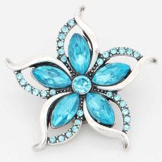 20MM design snap sliver Plated with blue rhinestones KC6711 snaps jewelry