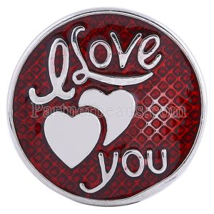 20MM valentine Love snap Silver Plated with red Enamel KC6104 snaps jewelry