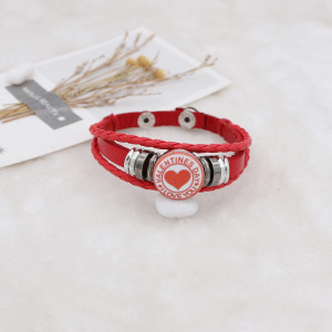20MMバレンタインデーペイントされた赤いエナメルメタルC5616プリントスナップジュエリー