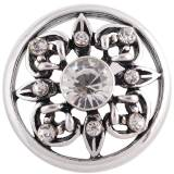 Diseño 20MM complemento plateado antiguo plateado con diamantes de imitación blancos KC8730 broches de joyería