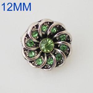 Broches de flores 12mm Plateado de plata antigua con diamantes de imitación verdes KB6573-S joyería rápida