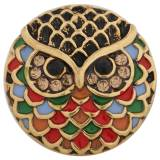20MM Owl snap Antique Gold Plated with colorful Enamel and Rhinestones KC8767 Multicolor