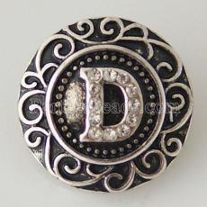 20MM English alphabet-D snap Antique silver  plated with  Rhinestones KB6257 snaps jewelry