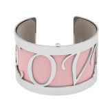 Copper Bangle with real leather Pink/gray double side TA7033