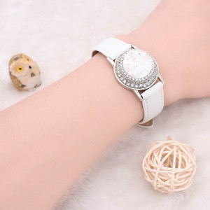 1 buttons White Genuine leather KC0879 Watch bracelets fit 20MM snaps chunks