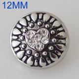 12MM Loveheart snap Plateado plata antigua con diamantes de imitación KB5526-S broches de joyería