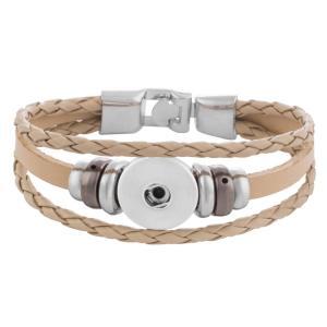20CM Las pulseras de cuero beige se ajustan a los trozos de broches 18MM