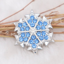 20MM design snap Silver Plated with Blue rhinestone KC7992 snaps jewelry