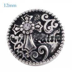 12MM faith snap Antique Silver Plated with white Rhinestone KS6101-S snaps jewelry