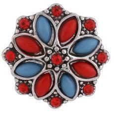 boutons-pression en métal avec strass rouges