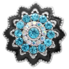 20MM design snap silver Plated with blue rhinestone KC6938 snaps jewelry