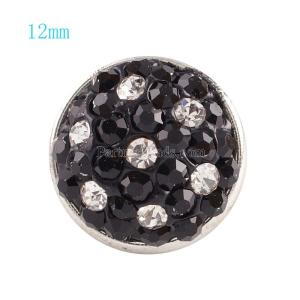12mm snaps button with black rhinestone  KS2704-S snaps jewelry