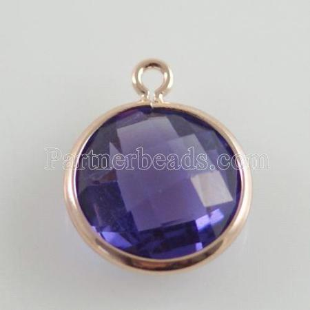 Glass crystal dangle Charms dia 12mm color001