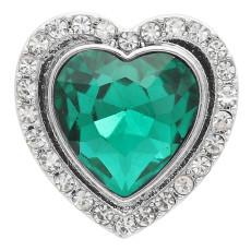 20MM bouton pression en forme de coeur Plaqué argent avec strass vert KC9924 s'encliquette