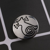 20MM CAT snap button Antique Silver Plated with black Rhinestone KC9621 snap jewelry