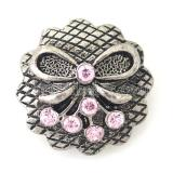 20MM Bow snaps KB8745 with pink rhinestone interchangeable jewelry