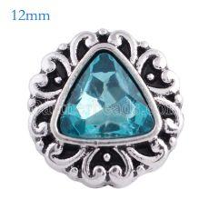 12MM snap Chapado en plata antigua con cristal azul facetado KS6083-S broches de joyería