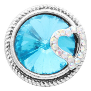 20MM love snap Silver Plated with blue rhinestone KC7821 snaps jewelry