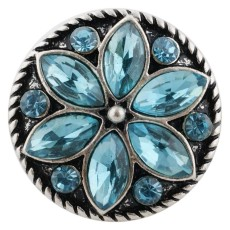 20MM design snap Antique silver plated with blue Rhinestone KC7478 interchangeable snaps jewelry