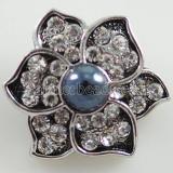 20MM Broche de flores Chapado en plata antigua con diamantes de imitación y perlas KB7968 broches de joyería