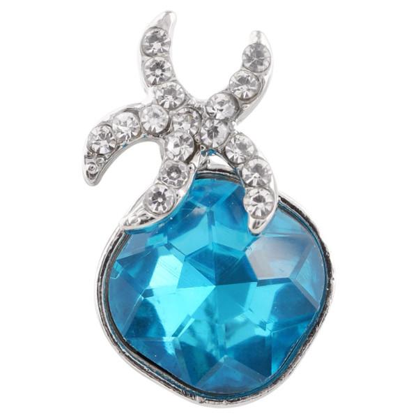 20MM Starfish snap Plateado con diamantes de imitación azules KC6370 broches de joyería