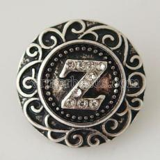 20MM English alphabet-Z  snap Antique silver  plated with Rhinestones KB6279 snaps jewelry