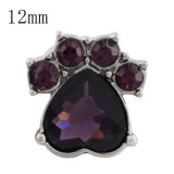 12MM Dog claws snap with Dark purple Rhinestone KS5183-S interchangeable snaps jewelry