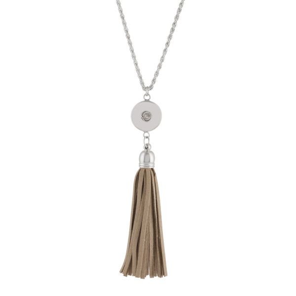 1 button necklace with 80CM chain with tassel  fit snaps chunks
