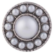 20MM Round snap Silver Plated with white pearls KB7455 snaps jewelry