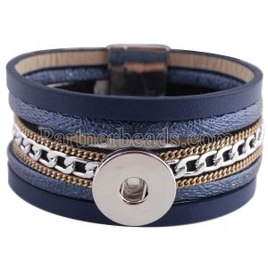 Partnerbeads 8.26inch pulseras de cuero de PU azul Botón extraíble Ajuste 18 / 20MM broches de presión KC0256 broches de joyería