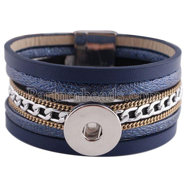 Partnerbeads 8.26inch синие браслеты из ПУ кожи со съемной пуговицей 18 / 20MM защелкивают кусочки KC0256 защелкивают украшения