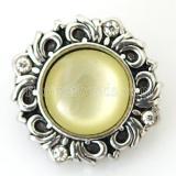 20MM Patrón snap Plateado antiguo plateado con diamantes de imitación amarillos KB6460 broches de joyería