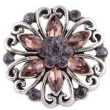 Diseño 20MM complemento plateado antiguo plateado con diamantes de imitación púrpura KC8724 broches de joyería