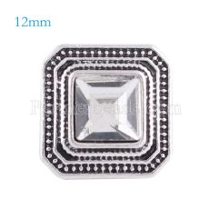 12MM Square snap Antique sliver Plated with white rhinestone KS6147-S snaps jewelry