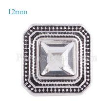 12MM Broche de plata antiguo plateado con diamantes de imitación blancos KS6147-S broches de joyería
