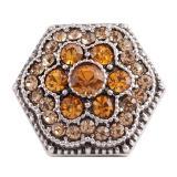 20MM Hexagon snap Plateado plata antigua con diamantes de imitación naranja KC7067 broches de joyería