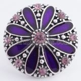 20MM flower snap Silver Plated with purple Enamel KC8630 snaps jewelry