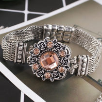20MM fleur snap Antique Silver Plated avec le verre de section orange clair KB8919 s'encliquette bijoux