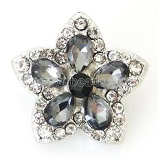 20MM Star snap Antique Silver Plated with gray  rhinestone KB8195 snaps jewelry