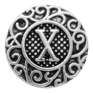 C20MM Englisches Alphabet-X Druckknopf Antik Silber KC6768 Druckknopf Schmuck