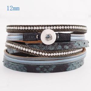 Pulseras de cuero de la PU con botones a presión 39.5cm 1 de Partnerbeads con diamantes de imitación en forma de broches 12mm KS0617-S