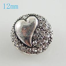 Coeur 12mm s'enclenche avec strass blanc KB6657-S snap bijoux