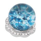 25MM Brillante esférico opalino cian Ámbar complemento Plateado con diamantes de imitación KC7970 broches de joyería
