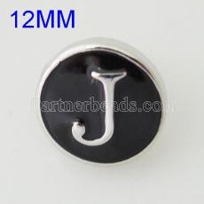 12mm J snaps Antique Silver Plated with enamel KB6670-S snap jewelry
