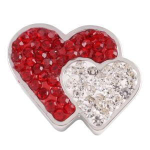 20mmバレンタインラブハートスナップと赤いラインストーンKC4008スナップジュエリー