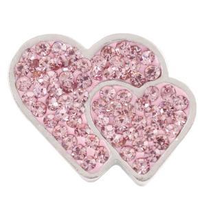 20mm Valentinstag Liebesherz schnappt mit rosa Strass KC4018 Schnappschmuck