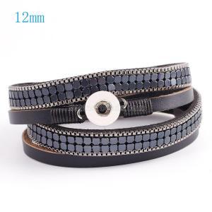 40cm Las pulseras de cuero de la PU con botón a presión 1 se ajustan a los broches 12mm con cuero negro y encanto KS0609-S