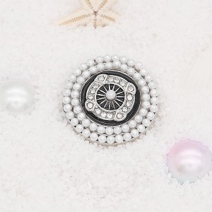 20MM pearl snap Silver Plated with white rhinestone and pearl KC7915 snaps jewelry